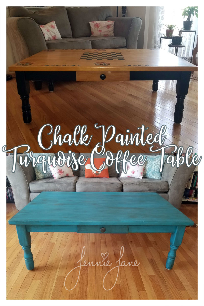 Chalk Painted Turquoise Coffee Table