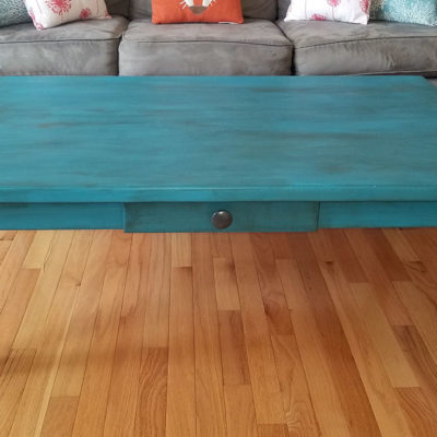 Turquoise chalk painted coffee table