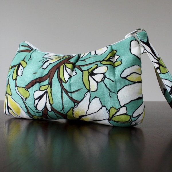 Pleated Wristlet in Magnolia Branch Aqua