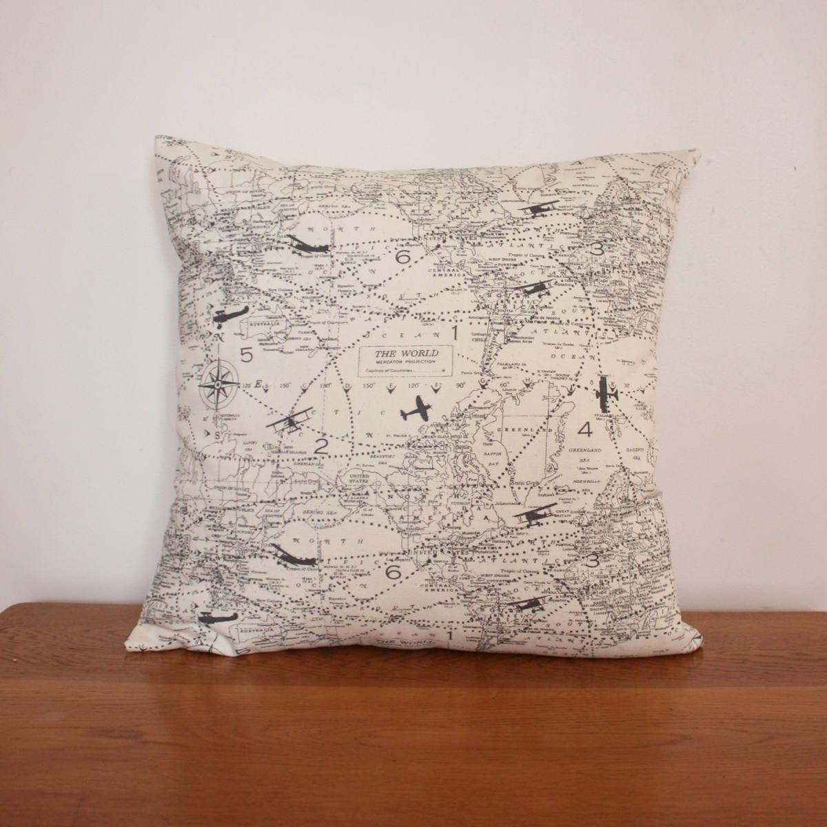 Air Traffic Map Natural Decorative Throw Pillow Covers