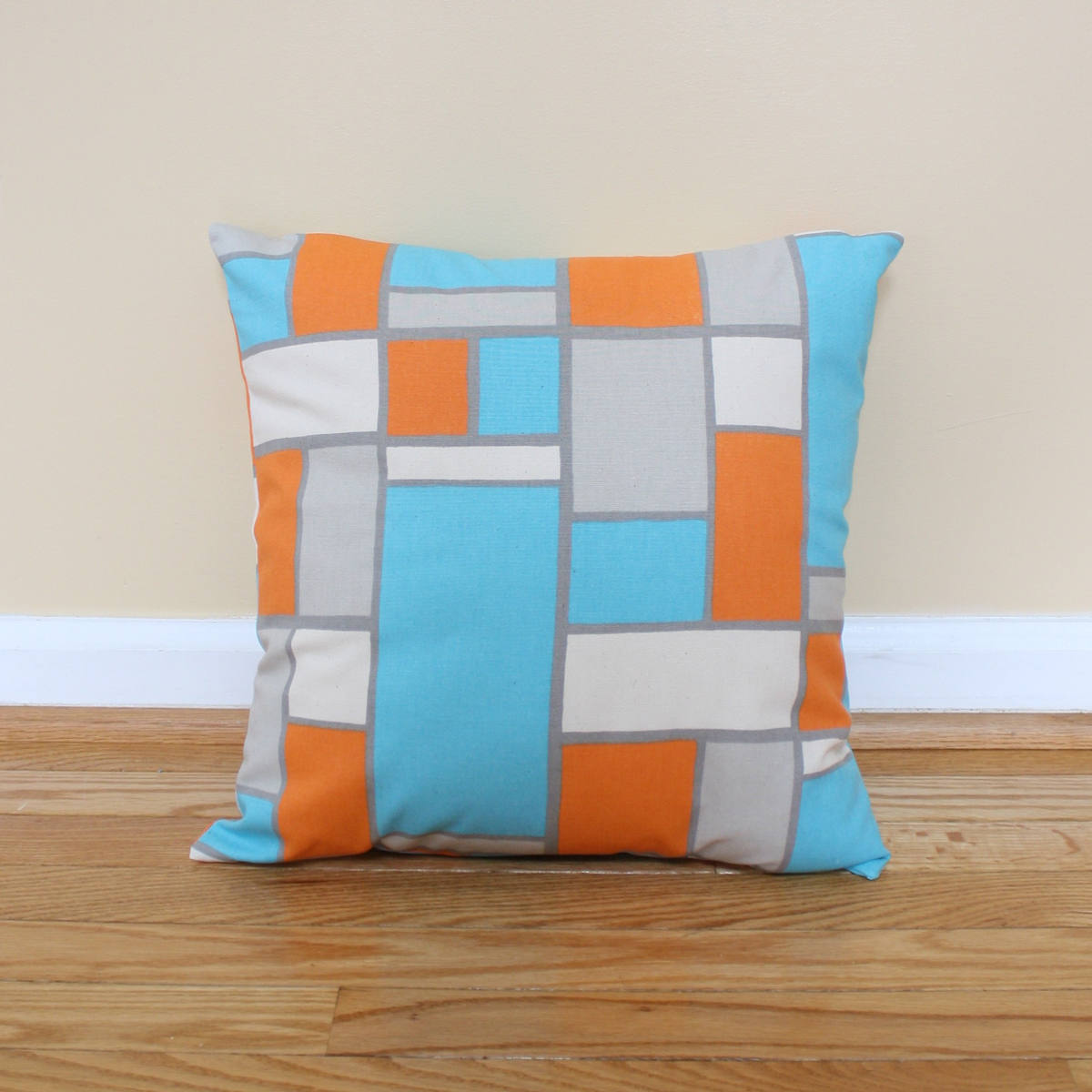 Teal, Orange and Gray Geometric Pillow Covers